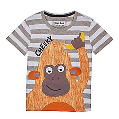bluezoo - Boys' grey striped orangutan t-shirt