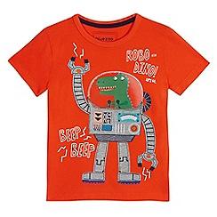 bluezoo - Boys' orange 'Robo-Dino' applique t-shirt