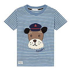 J by Jasper Conran - Boys' blue striped dog applique t-shirt