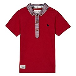 J by Jasper Conran - Boys' red gingham print trim polo shirt