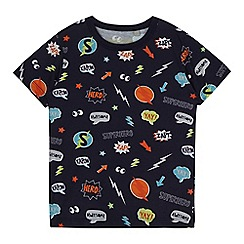 bluezoo - Boys' navy badge print t-shirt