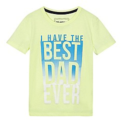 bluezoo - Boys' yellow 'Best dad ever' slogan print t-shirt