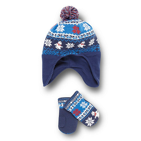 bluezoo - Boy+s navy polar bear hat and mittens
