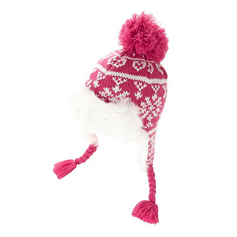 bluezoo - Girl+s pink fairisle trapper hat