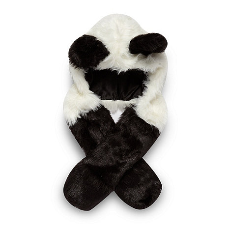 bluezoo - Girl+s black panda 2 in 1 hat and scarf