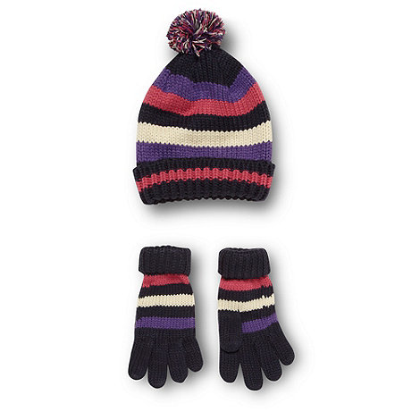 bluezoo - Girl+s navy striped knit hat and gloves set
