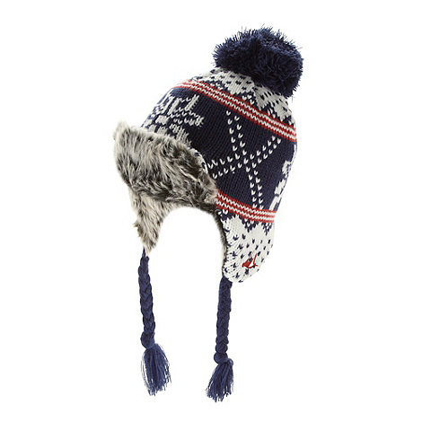 Mantaray - Boy+s blue fairisle trapper knitted hat