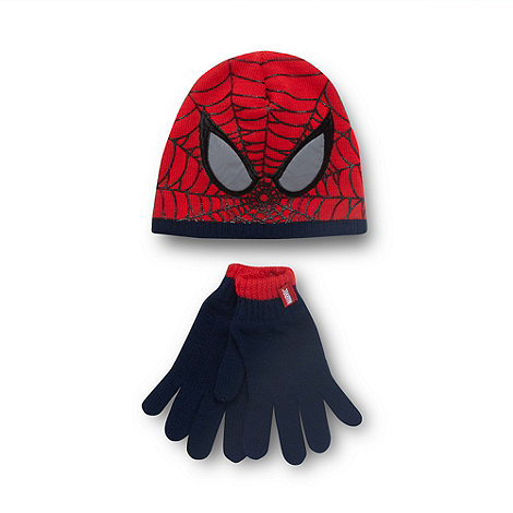 Spider-man - Boy+s red +Spiderman+ hat and gloves