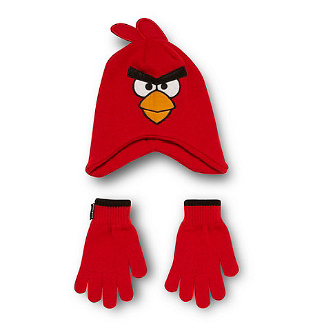 angry birds - Boy's red 'Angry Birds' hat and gloves set