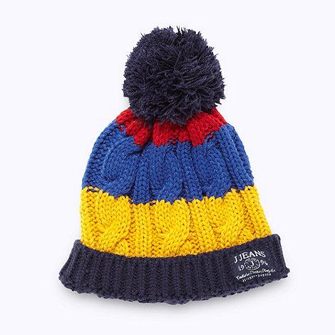 J by Jasper Conran - Designer boy+s navy striped cable knit beanie hat