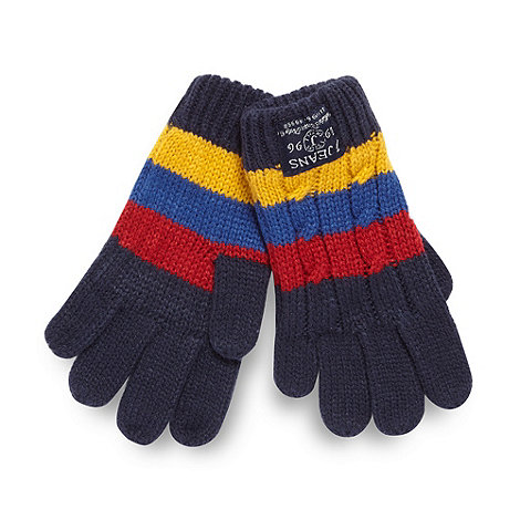 J by Jasper Conran - Designer boy+s navy striped cable knit gloves
