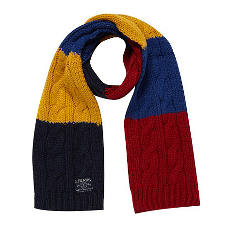 J by Jasper Conran - Designer boy+s navy striped cable knit scarf
