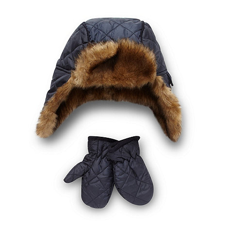 J by Jasper Conran - Designer boy+s navy quilted trapper hat and mittens set