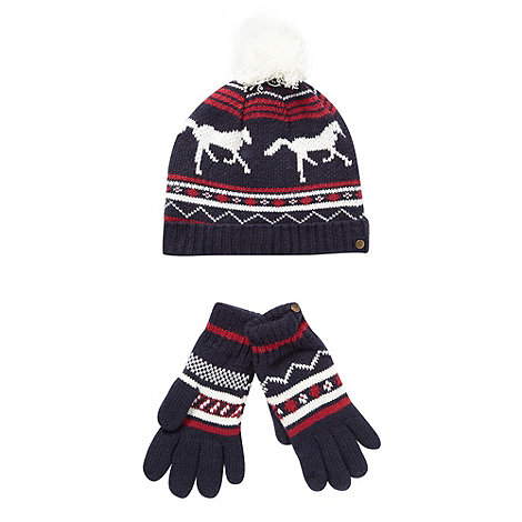 J by Jasper Conran - Designer girl+s navy horse knitted hat and gloves set