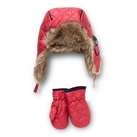 J by Jasper Conran - Designer girl+s pink quilted trapper hat and mittens set