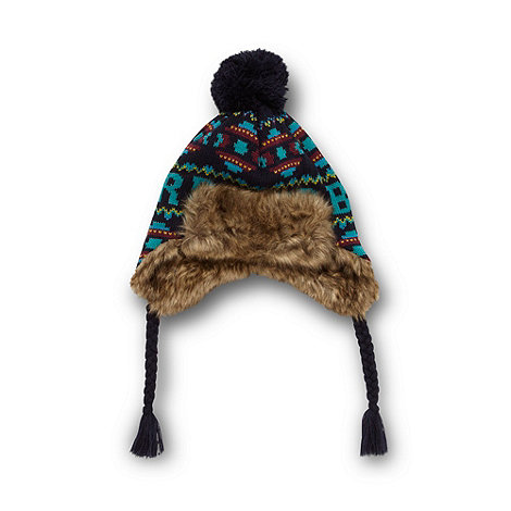 Baker by Ted Baker - Boy+s navy fairisle knit trapper hat