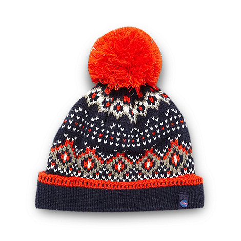 Baker by Ted Baker - Boy+s navy fairisle knit beanie hat