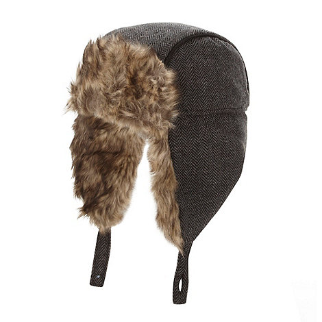 Baker by Ted Baker - Boy+s grey herringbone faux fur hat