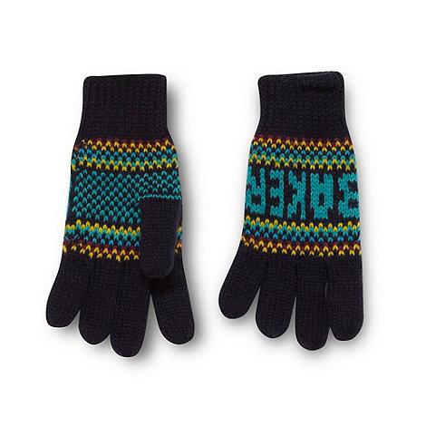 Baker by Ted Baker - Boy+s navy fairisle knit gloves