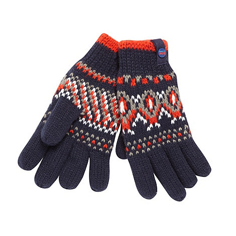 Baker by Ted Baker - Boy+s navy fairisle knit gloves