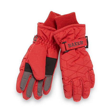 Baker by Ted Baker - Boy+s red thinsulate quilted fleece lined gloves.
