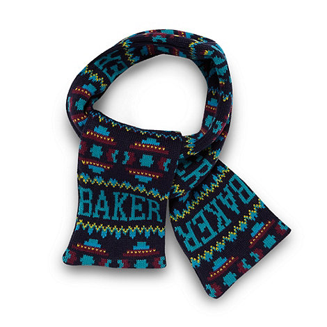 Baker by Ted Baker - Boy+s navy fairisle logo knit scarf