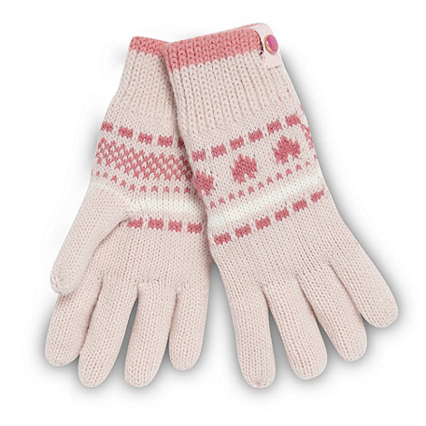 Baker by Ted Baker - Girl+s pink fairisle knit gloves