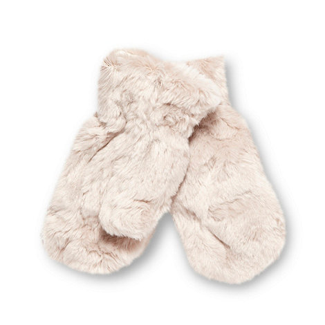 Baker by Ted Baker - Girl+s beige faux fur mittens