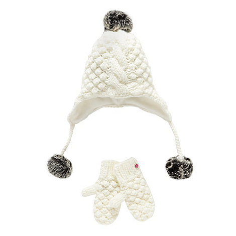 Baker by Ted Baker - Girl+s cream bobble knitted trapper hat and mittens set