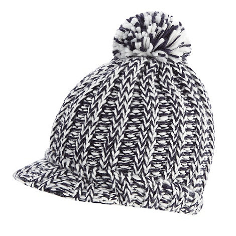 bluezoo - Boy's blue peaked knitted hat with pom pom