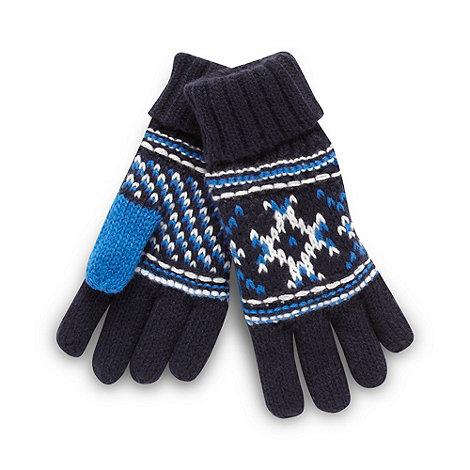 bluezoo - Boy+s navy fairisle knit gloves