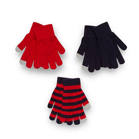 bluezoo - Boy+s pack of three navy and red touch screen gloves
