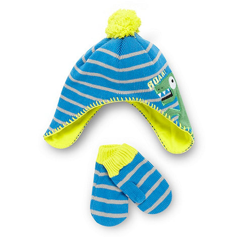 bluezoo - Boy+s blue knitted dinosaur hat and mittens