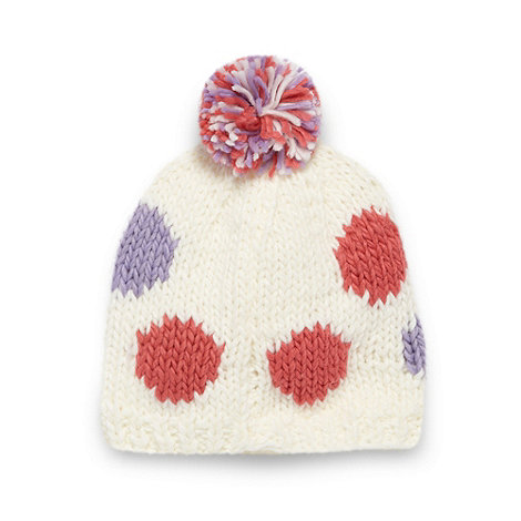 bluezoo - Girl+s cream spotted knit beanie hat