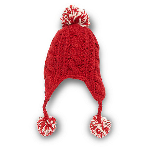 bluezoo - Children's red cable knit trapper hat