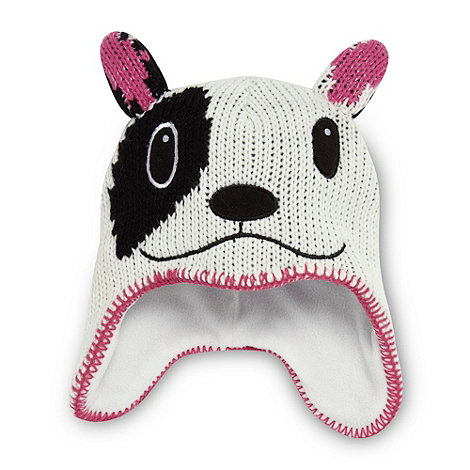 bluezoo - Girl+s white novelty dog knit trapper hat