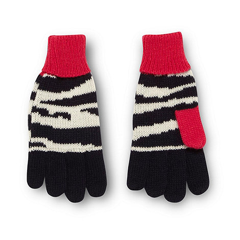 bluezoo - Girl+s pink zebra striped gloves