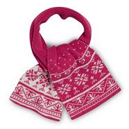 Girl's pink fairisle knit scarf