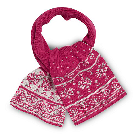 bluezoo - Girl+s pink fairisle knit scarf