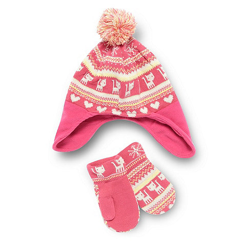 bluezoo - Girl+s pink cat hat and mittens set