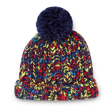 bluezoo - Boy+s navy flecked bobble hat