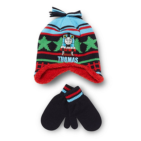 Thomas & Friends - Boy+s blue +Thomas+ trapper hat and gloves set