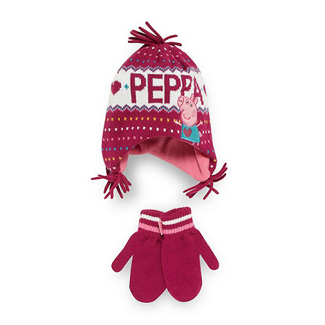 Peppa Pig - Girl+s pink +Peppa Pig+ hat and mittens set