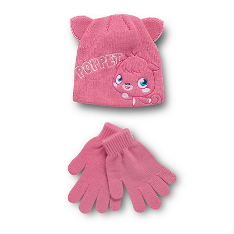 Moshi Monsters - Girl+s pink +Poppet+ hat and gloves set