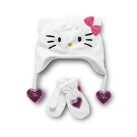 Hello Kitty - Girl+s cream +Hello Kitty+ fleece hat and mittens set