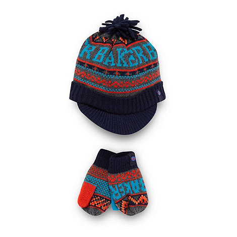 Baker by Ted Baker - Boy+s navy fairisle knit beanie hat and mittens set