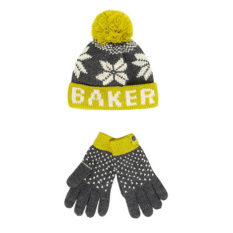 Baker by Ted Baker - Boy+s grey fairisle knit hat and scarf set