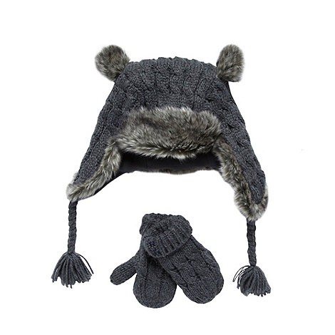 RJR.John Rocha - Designer boy+s grey cable knit trapper hat and mittens set