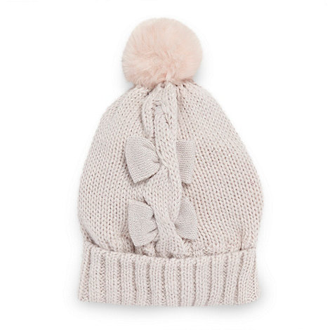 Star by Julien Macdonald - Girl+s pink metallic knitted bow hat