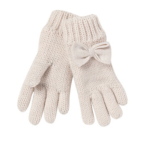 Star by Julien Macdonald - Designer girl+s pale pink metallic bow gloves